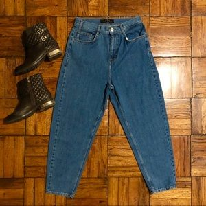 Zara Ribcage High Waist Relaxed Fit Blue Jeans